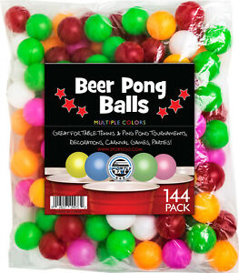 144 Color Beer Pong Balls Great for Table Tennis & Ping Pong Parties & Games