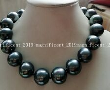 New 20mm Black Round South Sea Shell Pearl Necklace 18'' AAA+