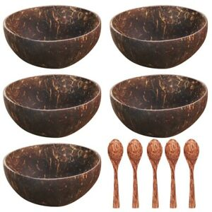 5 Pcs Coconut shell dessert cups/Soup Bowl with spoon Handmade 100% Eco Friendly