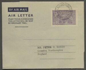 AOP Trinidad & Tobago 1950 King George VI KGVI used 12c air letter HG # FG1