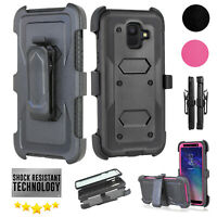 For Samsung Galaxy A6 2018 Armor Stand Belt Clip Holster Built in Screen Protect