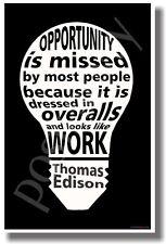 White On Black - Thomas Edison Quote - New Classroom Motivational Poster