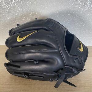 "Nike Alpha Huarache Elite Baseball Outfield Glove 11.75"" IN Black With Gold Trim"