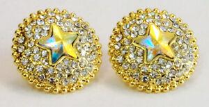 Butler and Wilson Multi Crystal Enamel Double Star Small Drop Earrings NEW