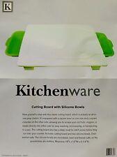 "Cutting Board w Silicone Bowls, prep station w colander by KitchenWare 16"" x 12"""