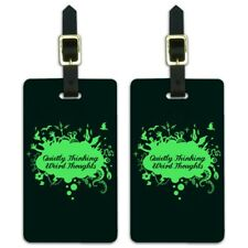 Quietly Thinking Weird Thoughts Funny Luggage ID Tags Carry-On Cards - Set of 2