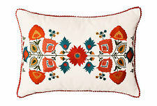 """Lumbar White Floral Cotton Decorative Pillow Cover Silk Embroidery 14""""x20"""""""