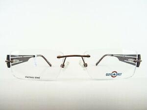 Randlose Herrenbrille Metall Brillenfassung rechteckig schmal unauffällig Gr. M