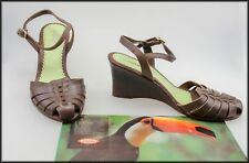 AZALEIA WOMEN'S BROWN WEDGED HEEL SANDALS SHOES SIZE 8.5 AUST MARKED 40 EUR