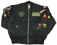 Smoke Rise Black MA1 Military Patches Bomber Jacket