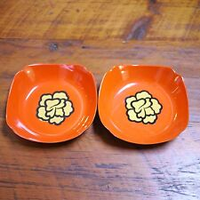 Pair Vtg Japanese Lacquered Orange Gold Flowers Square Serving Bowls Dishes