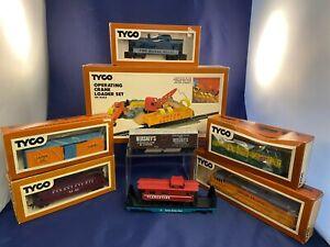 Vintage Tyco Train Lot Royal Blue Hershey's Crane Loader Laramie Clementine