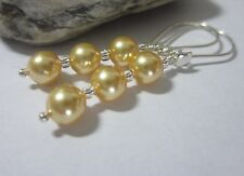 Handmade with Gold Swarovski Elements Beads pearls 925 Silver Earrings