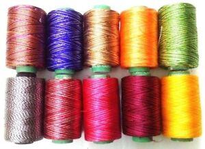 LOT of 10 SHADED 150/2 Denier Viscose Rayon Thread Yarn Hand Machine Embroidery