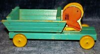 Vintage Fisher Price #466  Bunny Wood Pull Toy Wagon Easter Wooden Rabbit