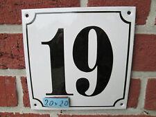 Hausnummer Mega Groß  Emaille Nr 19 schwarze Zahl weißer Hintergrund 20cmx20 cm