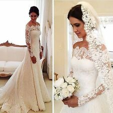 most popular!Lace Wedding Dress Long Sleeve with Train Bridal Gowns Custom Size