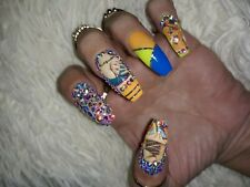 NEW HANDPAINTED SUPER BLING HEARTBREAKER FAKE NAILS TIPS PRESS ON FREE SHIPPING