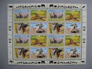 UNITED NATIONS VIENNA, S/S MNH 1995, rhinoceros parrot monkey oryx