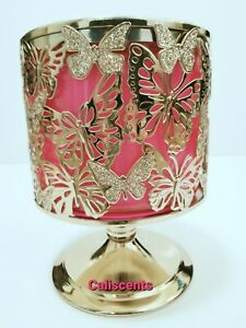 Bath & Body Works Gold Butterfly Pedestal 3 Wick Candle Holder New