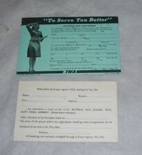 TWO TWA CUSTOMER INFORMATION CARDS Re RESERVATIONS 1949 & MAILING LIST Unused