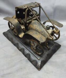 Vintage Metal Automobile Art Sculpture Car on Carved Wood Base MCM Art Old Cars