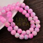 Hot 50pcs 8mm Round Charms Glass Loose Spacer Beads Deep Pink Colorized