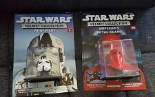 2× STAR WARS HELMET COLLECTION AT-AT PILOT & EMPORERS ROYAL GUARD WITH MAGAZINES