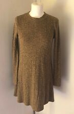 TOPSHOP Ladies Mustard Yellow And Marl Black Ribbed High Neck Dress Size 10