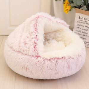 Washable Fluffy Dog Bed Cat Cave Donut Calming Pet Plush House Igloo Nest Kennel