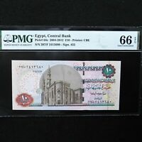 2004-2012  Egypt, Central Bank 10 Pounds, Pick # 64c, PMG 66 EPQ Gem Unc