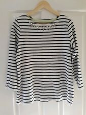 BNWT Joules Marnie black stripe embellished cotton top, size 14. Cotton jersey