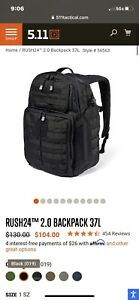 5.11 RUSH 24 Black Tactical Backpack Black Nylon Military MOLLE Day Pack