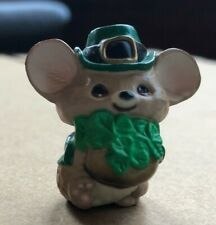 Hallmark Vintage Merry Miniatures 1987 Mouse with Hat and Shamrock
