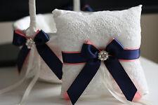Navy Blue Coral Ring Pillow + Flower Girl Basket Set, Navy Coral Wedding Pillow
