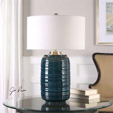 DESIGNER DARK TEAL GLAZE CERAMIC TABLE LAMP LINEN SHADE BRUSHED NICKEL METAL