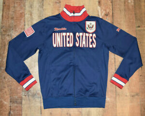 Vtg MONDETTA USA United States Men Olympic Zip Up Blue Red Track Jacket Small