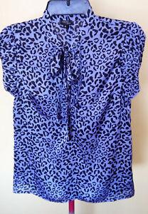 Ladies Short Sleeve Blouse Shirt Top Purple Print Office Event Tokito Size 6