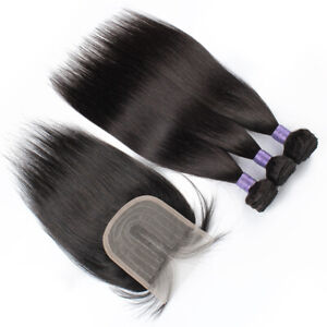 "Brazilian Hair Weave 3 Bundles Straight Unprocessed Human Hair with 8"" closure"