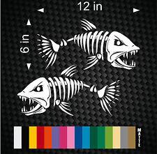 (2) Skeleton Fish Vinyl Decals for Boat Fishing graphics Bone Bones sticker
