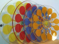 4 SagaForm Lotta Odelius Juicy Flower Swedish Retro Glass Plates Set Party Fun
