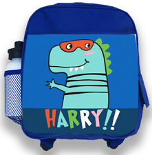 a61a564791 Personalised Kids Backpack Any Name Dinosaur Boys Childrens Back To School  Bag