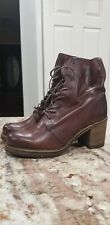 Frye Genuine Leather Karen Combat Ankle Boot Plum Size 8.5B Womens 3470861