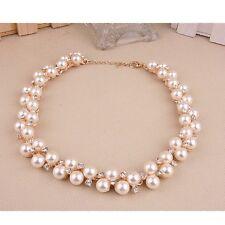Fashion Jewelry Pendant Crystal Chain Chunky Statement Pearl Bib Necklace Charm