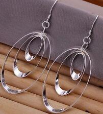 Earrings Round Shaped Dangle Drop Earrings Pierced Ears Silver toned