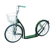 "20"" AMISH SCOOTER - DARK GREEN - Kick Foot Bike w Basket Brakes & Racing Wheels"