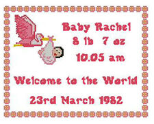 """Welcome Baby Girl Counted Cross Stitch Kit Sampler 10"""" x 8"""" New Born"""