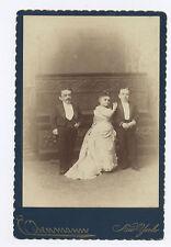 EISENMANN CABINET CARD PHOTO MIDGETS: BARON MAGRI, COUNT ROSEBUD, MINNIE WARREN