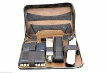 Vintage Shaving Travel Kit Gillette Safety Razor 3 Brushes Bottle Ebony Gibson
