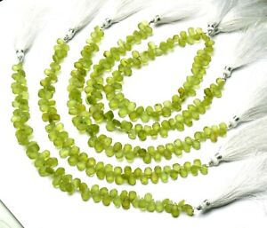 """Natural Gem Olive Green Rough Peridot 6x4 to 7x5MM Unpolished Pear Beads 8.5"""""""